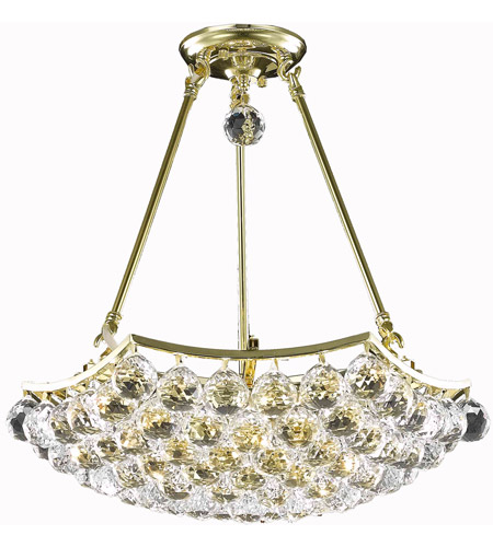 Elegant Lighting Corona 8 Light Dining Chandelier in Gold with Swarovski Strass Clear Crystal 9802D18G/SS photo