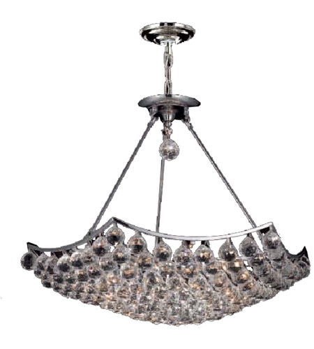 Elegant Lighting Corona 12 Light Dining Chandelier in Chrome with Elegant Cut Clear Crystal 9802D26C/EC photo