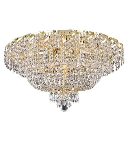 Elegant Lighting Belenus 10 Light Flush Mount in Gold with Swarovski Strass Clear Crystal ECA2F26G/SS photo
