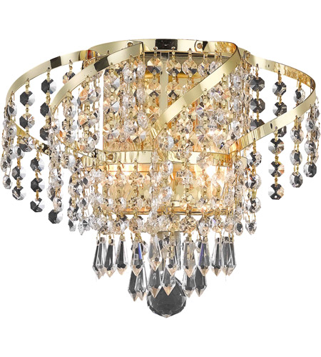 Elegant Lighting Belenus 2 Light Wall Sconce in Gold with Royal Cut Clear Crystal ECA4W12G/RC photo