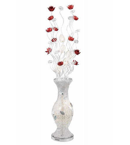 Elegant Lighting South Beach 8 Light Floor Lamp in Silver and Red FL4004 photo