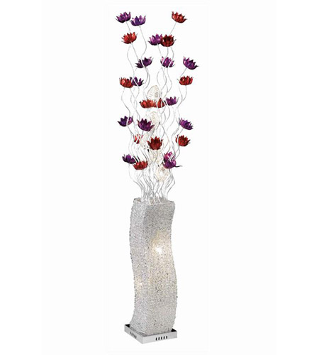 Elegant Lighting South Beach 8 Light Floor Lamp in Silver Purple Red FL4012 photo