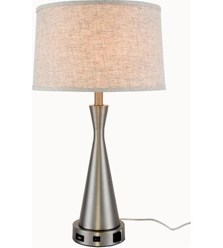 Elegant Lighting TL3014 Brio 26 Inch 40 Watt Vintage Nickel Table Lamp  Portable Light
