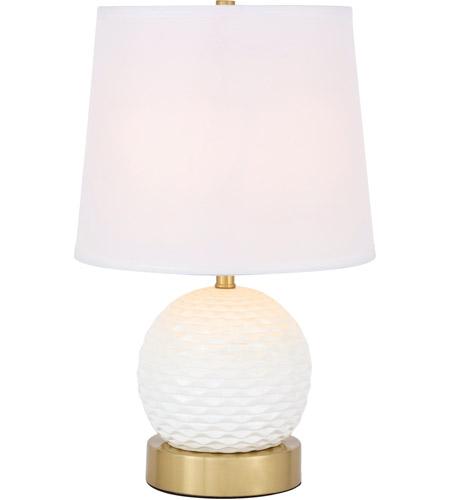 Elegant Lighting Tl3034br Haven 18 Inch 40 Watt Brushed Br And White Table Lamp Portable Light