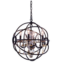 Elegant Lighting 1130D17DB-GT/RC Geneva 4 Light 17 inch Dark Bronze Pendant Ceiling Light in Golden Teak Urban Classic