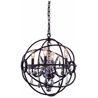 Elegant Lighting 1130D17DB-SS/RC Geneva 4 Light 17 inch Dark Bronze Pendant Ceiling Light in Silver Shade Urban Classic