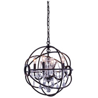 Elegant Lighting 1130D17DB/RC Geneva 4 Light 17 inch Dark Bronze Pendant Ceiling Light in Clear Urban Classic