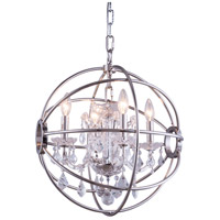 Elegant Lighting 1130D17PN/RC Geneva 4 Light 17 inch Polished Nickel Pendant Ceiling Light in Clear Urban Classic