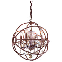 Elegant Lighting 1130D17RI-GT/RC Geneva 4 Light 17 inch Rustic Intent Pendant Ceiling Light in Golden Teak Urban Classic