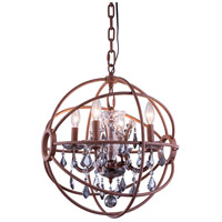 Elegant Lighting 1130D17RI-SS/RC Geneva 4 Light 17 inch Rustic Intent Pendant Ceiling Light in Silver Shade Urban Classic