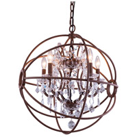 Urban Classic by Elegant Lighting Geneva 4 Light Pendant in Rustic Intent with Royal Cut Clear Crystal 1130D17RI/RC - Open Box