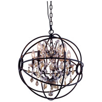 Elegant Lighting 1130D20DB-GT/RC Geneva 5 Light 20 inch Dark Bronze Pendant Ceiling Light in Golden Teak Urban Classic