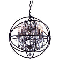 Urban Classic by Elegant Lighting Geneva 5 Light Pendant in Dark Bronze with Royal Cut Silver Shade Crystal 1130D20DB-SS/RC