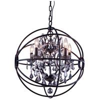 Elegant Lighting 1130D20DB-SS/RC Geneva 5 Light 20 inch Dark Bronze Pendant Ceiling Light in Silver Shade Urban Classic