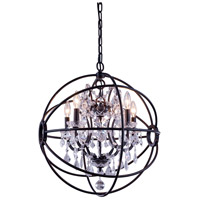 Elegant Lighting 1130D20DB/RC Geneva 5 Light 20 inch Dark Bronze Pendant Ceiling Light in Clear, Urban Classic