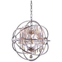 Urban Classic by Elegant Lighting Geneva 5 Light Pendant in Polished Nickel with Royal Cut Golden Teak Crystal 1130D20PN-GT/RC