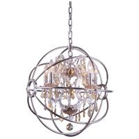 Elegant Lighting 1130D20PN-GT/RC Geneva 5 Light 20 inch Polished Nickel Pendant Ceiling Light in Golden Teak Urban Classic
