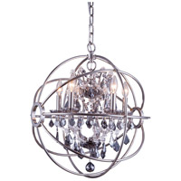Elegant Lighting 1130D20PN-SS/RC Geneva 5 Light 20 inch Polished Nickel Pendant Ceiling Light in Silver Shade, Urban Classic