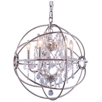 Elegant Lighting 1130D20PN/RC Geneva 5 Light 20 inch Polished Nickel Pendant Ceiling Light in Clear, Urban Classic