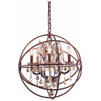 Urban Classic by Elegant Lighting Geneva 5 Light Pendant in Rustic Intent with Royal Cut Golden Teak Crystal 1130D20RI-GT/RC