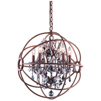 Urban Classic by Elegant Lighting Geneva 5 Light Pendant in Rustic Intent with Royal Cut Silver Shade Crystal 1130D20RI-SS/RC
