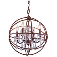 Urban Classic by Elegant Lighting Geneva 5 Light Pendant in Rustic Intent with Royal Cut Clear Crystal 1130D20RI/RC