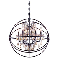 Urban Classic by Elegant Lighting Geneva 6 Light Pendant in Dark Bronze with Royal Cut Golden Teak Crystal 1130D25DB-GT/RC