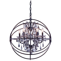 Elegant Lighting 1130D25DB-SS/RC Geneva 6 Light 25 inch Dark Bronze Pendant Ceiling Light in Silver Shade Urban Classic