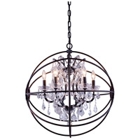Elegant Lighting 1130D25DB/RC Geneva 6 Light 25 inch Dark Bronze Pendant Ceiling Light in Clear, Urban Classic