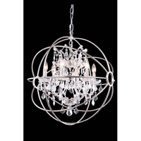 Elegant Lighting 1130D25PN/RC Geneva 6 Light 25 inch Polished Nickel Pendant Ceiling Light in Clear, Urban Classic