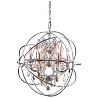 Urban Classic by Elegant Lighting Geneva 6 Light Pendant in Polished Nickel with Royal Cut Golden Teak Crystal 1130D25PN-GT/RC