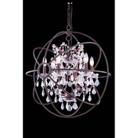 Elegant Lighting Urban 6 Light Pendant in Red Rusted Painted with Royal Cut Clear Crystal 1130D25RI/RC