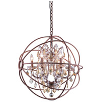 Urban Classic by Elegant Lighting Geneva 6 Light Pendant in Rustic Intent with Royal Cut Golden Teak Crystal 1130D25RI-GT/RC