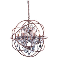 Urban Classic by Elegant Lighting Geneva 6 Light Pendant in Rustic Intent with Royal Cut Silver Shade Crystal 1130D25RI-SS/RC