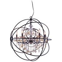 Urban Classic by Elegant Lighting Geneva 6 Light Pendant in Dark Bronze with Royal Cut Golden Teak Crystal 1130D32DB-GT/RC
