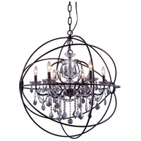Urban Classic by Elegant Lighting Geneva 6 Light Pendant in Dark Bronze with Royal Cut Silver Shade Crystal 1130D32DB-SS/RC