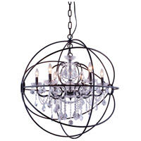 Elegant Lighting 1130D32DB/RC Geneva 6 Light 32 inch Dark Bronze Pendant Ceiling Light in Clear Urban Classic