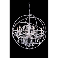 Elegant Lighting Urban 6 Light Pendant in Polished Nickel with Royal Cut Clear Crystal 1130D32PN/RC