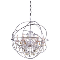 Urban Classic by Elegant Lighting Geneva 6 Light Pendant in Polished Nickel with Royal Cut Golden Teak Crystal 1130D32PN-GT/RC