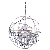 Elegant Lighting 1130D32PN-SS/RC Geneva 6 Light 32 inch Polished Nickel Pendant Ceiling Light in Silver Shade, Urban Classic