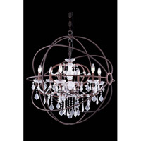 Elegant Lighting Urban 6 Light Pendant in Red Rusted Painted with Royal Cut Clear Crystal 1130D32RI/RC