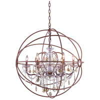 Urban Classic by Elegant Lighting Geneva 6 Light Pendant in Rustic Intent with Royal Cut Golden Teak Crystal 1130D32RI-GT/RC
