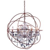 Elegant Lighting 1130D32RI-SS/RC Geneva 6 Light 32 inch Rustic Intent Pendant Ceiling Light in Silver Shade Urban Classic