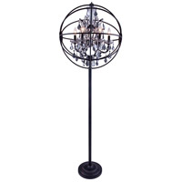 Urban Classic by Elegant Lighting Geneva 6 Light Floor Lamp in Dark Bronze with Royal Cut Silver Shade Crystal 1130FL24DB-SS/RC