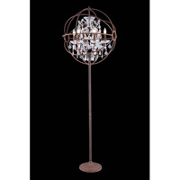 Elegant Lighting Urban 6 Light Floor Lamp in Red Rusted Painted with Royal Cut Clear Crystal 1130FL24RI/RC