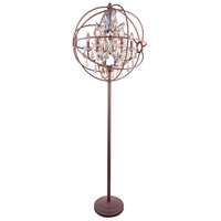 Urban Classic by Elegant Lighting Geneva 6 Light Floor Lamp in Rustic Intent with Royal Cut Golden Teak Crystal 1130FL24RI-GT/RC