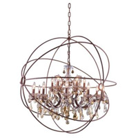 Elegant Lighting 1130G43RI-GT/RC Geneva 18 Light 44 inch Rustic Intent Pendant Ceiling Light in Golden Teak Urban Classic