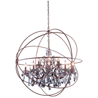Elegant Lighting 1130G43RI-SS/RC Geneva 18 Light 44 inch Rustic Intent Pendant Ceiling Light in Silver Shade Urban Classic