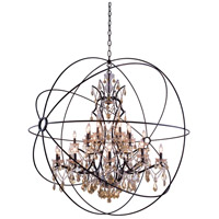 Elegant Lighting Geneva 25 Light Pendant in Dark Bronze with Royal Cut Golden Teak Crystal 1130G60DB-GT/RC