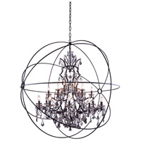 Elegant Lighting Geneva 25 Light Pendant in Dark Bronze with Royal Cut Silver Shade Crystal 1130G60DB-SS/RC